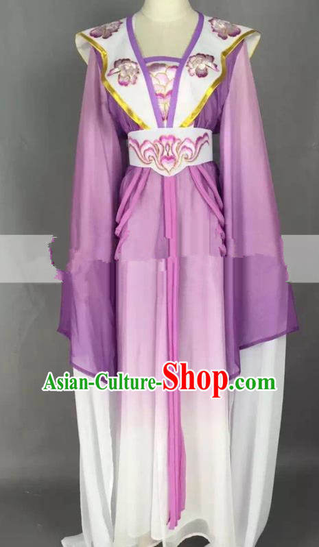 Chinese Traditional Peking Opera Actress Court Maid Purple Dress Ancient Rich Lady Costume for Women