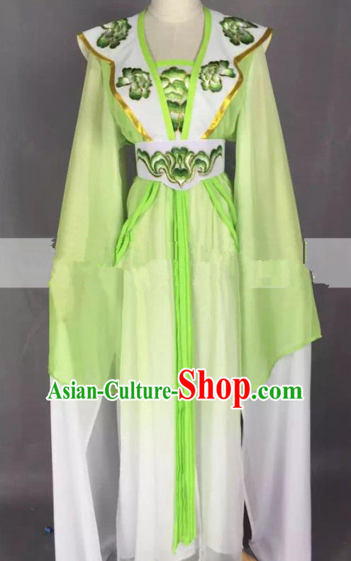 Chinese Traditional Peking Opera Actress Court Maid Green Dress Ancient Rich Lady Costume for Women
