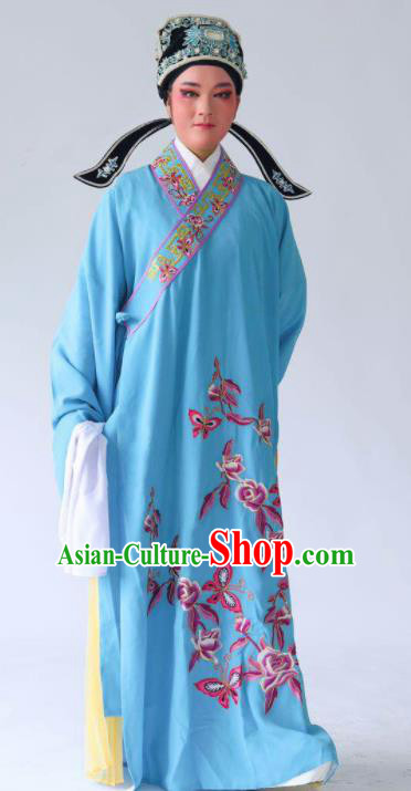 Chinese Traditional Beijing Opera Embroidered Peony Butterfly Blue Robe Ancient Scholar Costume for Men
