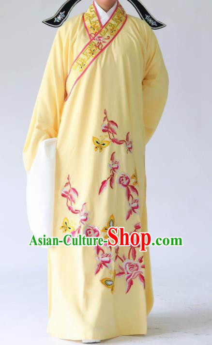 Chinese Traditional Beijing Opera Embroidered Peony Butterfly Yellow Robe Ancient Scholar Costume for Men
