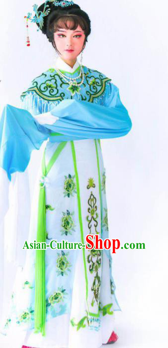 Chinese Traditional Peking Opera Princess Blue Dress Ancient Imperial Consort Costume for Women
