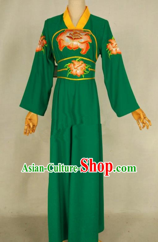Chinese Traditional Peking Opera Young Lady Green Dress Ancient Servant Girl Costume for Women