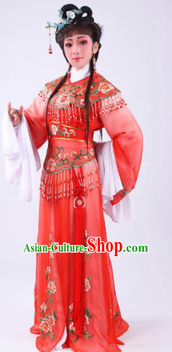 Chinese Traditional Peking Opera Actress Hua Tan Red Dress Ancient Rich Lady Costume for Women