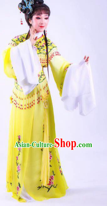 Chinese Traditional Peking Opera Actress Hua Tan Yellow Dress Ancient Rich Lady Costume for Women