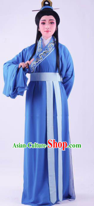 Chinese Traditional Beijing Opera Niche Blue Robe Ancient Number One Scholar Costume for Men