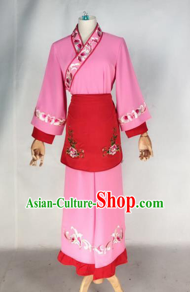 Chinese Traditional Peking Opera Maidservant Pink Dress Ancient Servant Girl Costume for Women