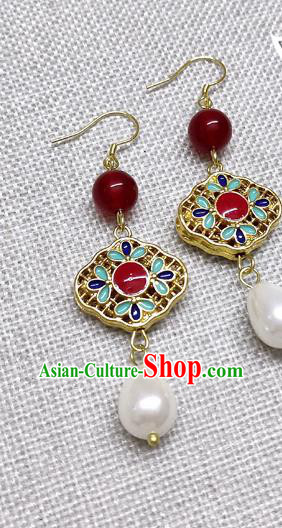Chinese Traditional Hanfu Cloisonne Earrings Ancient Princess Ear Accessories for Women
