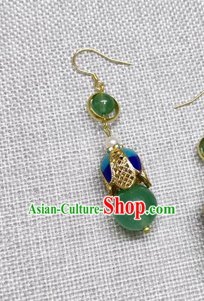 Chinese Traditional Hanfu Green Bead Magnolia Earrings Ancient Princess Ear Accessories for Women