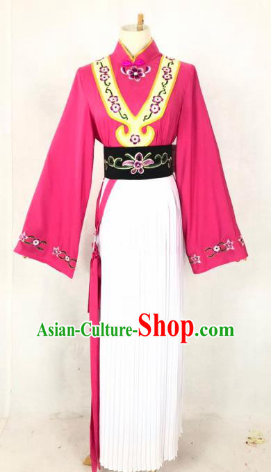 Chinese Traditional Peking Opera Servant Girl Rosy Dress Ancient Maidservant Costume for Women