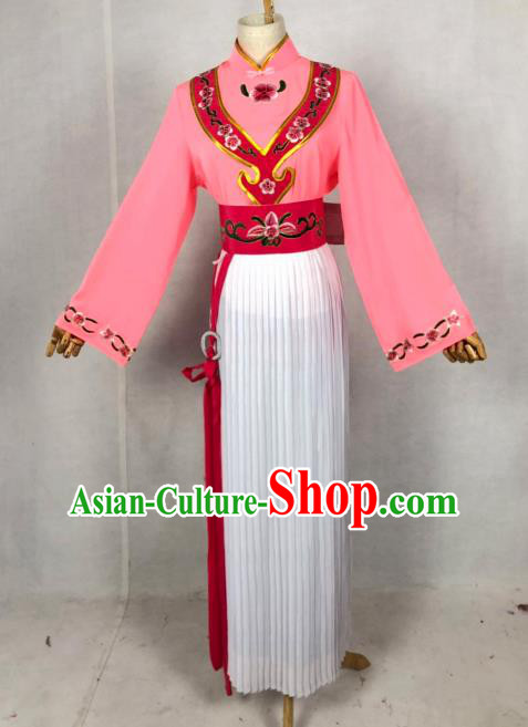 Chinese Traditional Peking Opera Servant Girl Pink Dress Ancient Maidservant Costume for Women