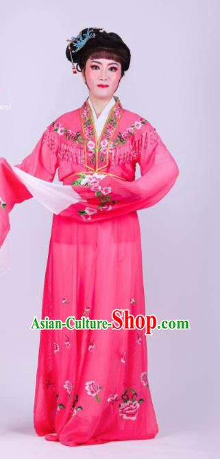 Chinese Traditional Peking Opera Actress Rich Lady Rosy Dress Ancient Royal Princess Costume for Women