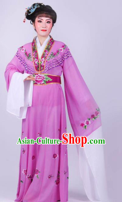 Chinese Traditional Peking Opera Actress Rich Lady Purple Dress Ancient Royal Princess Costume for Women