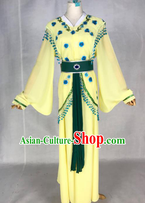 Chinese Traditional Peking Opera Actress Young Lady Yellow Dress Ancient Maidservant Costume for Women