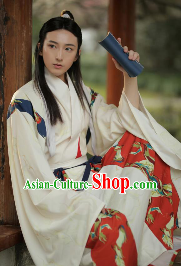 Asian Chinese Jin Dynasty Nobility Childe Hanfu Clothing Traditional Ancient Crown Prince Costumes for Men