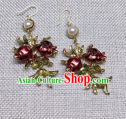Chinese Traditional Hanfu Palace Pomegranate Earrings Ancient Princess Ear Accessories for Women