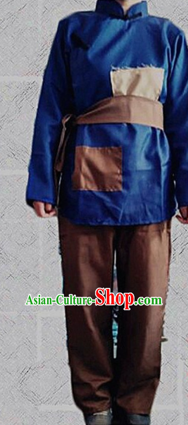 Ancient Chinese Poor People Costume Farmer Costumes Chinese Civilian Costumes for Men