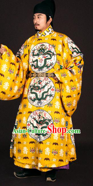 Asian Chinese Traditional Ming Dynasty Emperor Yellow Imperial Robe Ancient Court Monarch Costumes for Men