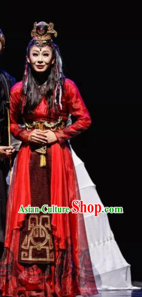 Chinese Ancient Stateswoman Queen Fu Hao Red Hanfu Dress Shang Dynasty Empress Fuhao Costumes Complete Set