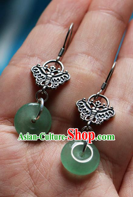 Chinese Traditional Hanfu Jewelry Accessories Ancient Tang Dynasty Princess Aventurine Earrings for Women