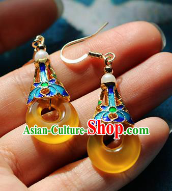 Chinese Traditional Hanfu Yellow Jade Ear Accessories Ancient Qing Dynasty Princess Earrings for Women