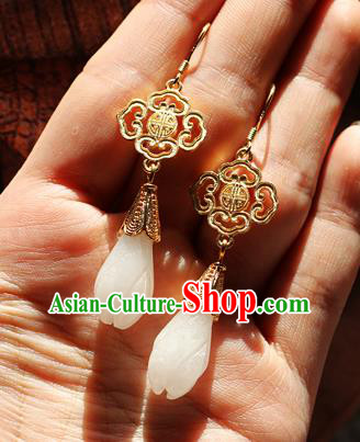Chinese Traditional Hanfu Jade Magnolia Ear Accessories Ancient Qing Dynasty Princess Earrings for Women