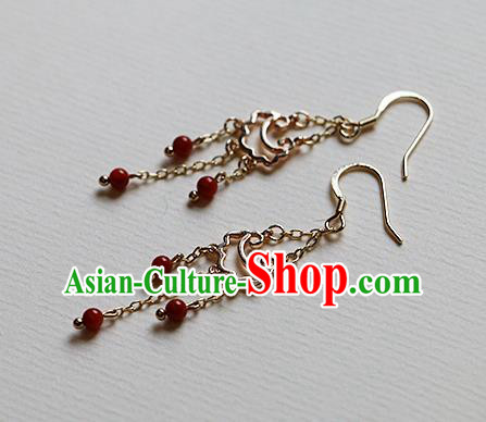 Chinese Traditional Hanfu Tassel Ear Accessories Ancient Tang Dynasty Princess Earrings for Women