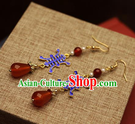 Chinese Traditional Hanfu Cloisonne Agate Ear Accessories Ancient Qing Dynasty Princess Earrings for Women