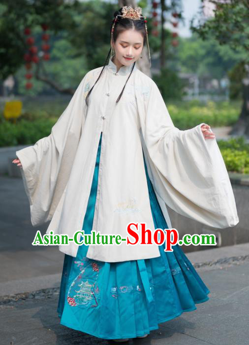 Traditional Chinese Ming Dynasty Aristocratic Replica Costumes Ancient Court Princess Hanfu Dress Complete Set for Women