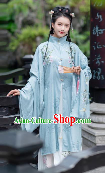 Traditional Chinese Ming Dynasty Replica Costumes Ancient Rich Lady Blue Hanfu Dress Complete Set for Women
