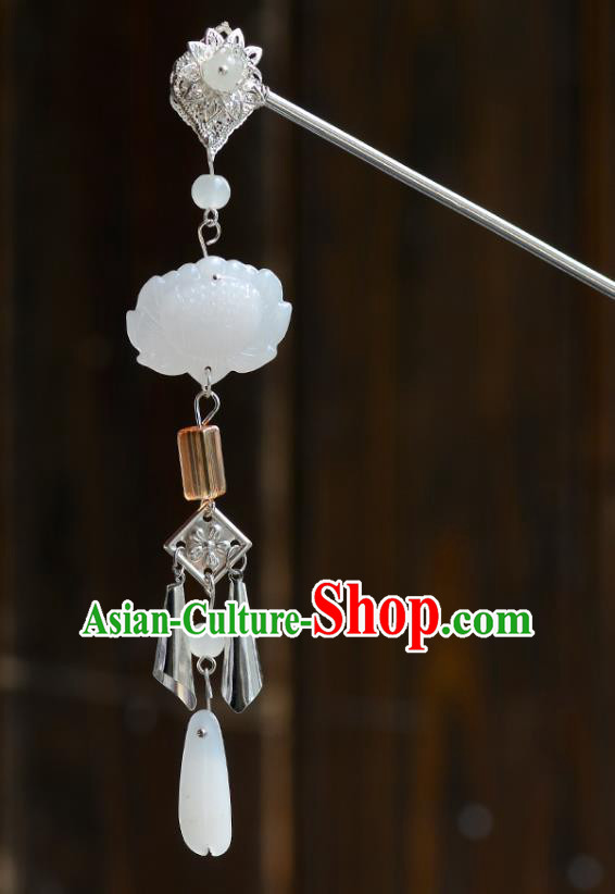 Chinese Ancient Tang Dynasty Palace Princess White Lotus Hairpins Traditional Hanfu Court Hair Accessories for Women