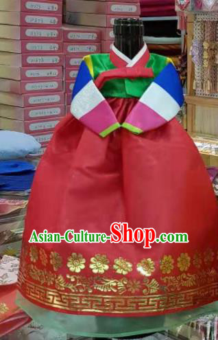Traditional Korean Hanbok Clothing Green Brocade Blouse and Red Dress Asian Korea Ancient Fashion Apparel Costume for Kids
