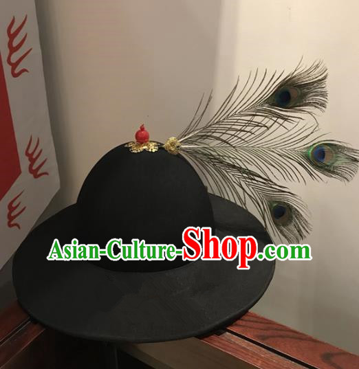 Chinese Traditional Handmade Ming Dynasty Imperial Guards Black Hat Ancient Drama Blades Headwear for Men