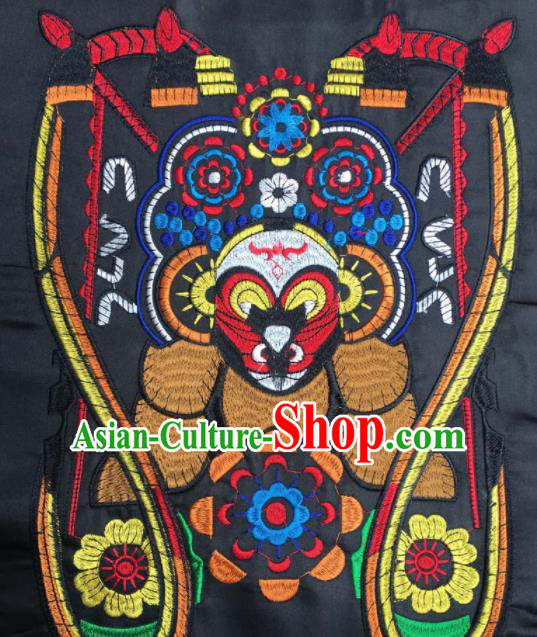 Chinese Traditional National Embroidered Beijing Opera Sun Wukong Facial Masks Applique Dress Patch Embroidery Cloth Accessories