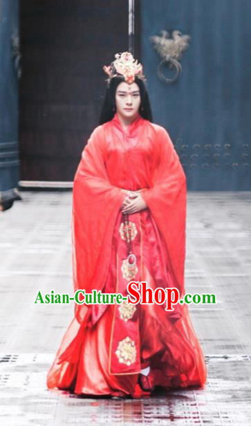 Chinese Drama Ancient Princess Costumes Jia Feng Xu Huang Traditional Han Dynasty Court Lady Red Hanfu Dress for Women