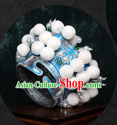 Chinese Traditional Beijing Opera Takefu Hat Peking Opera White Venonat Helmet for Men