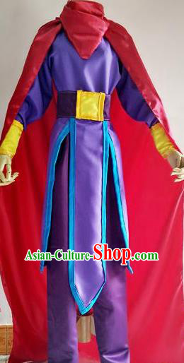 Chinese Traditional Cosplay Young Hero Purple Costume Ancient Swordsman Hanfu Clothing for Men