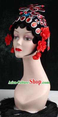Chinese Traditional Beijing Opera Diva Red Flower Head Ornaments Hair Accessories for Women