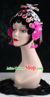 Chinese Traditional Beijing Opera Diva Rosy Flower Head Ornaments Hair Accessories for Women