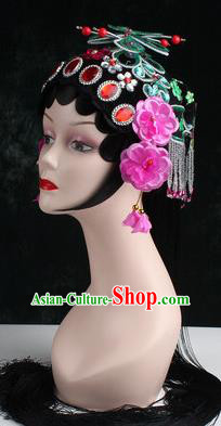 Chinese Traditional Beijing Opera Diva Green Butterfly Head Ornaments Hair Accessories for Women