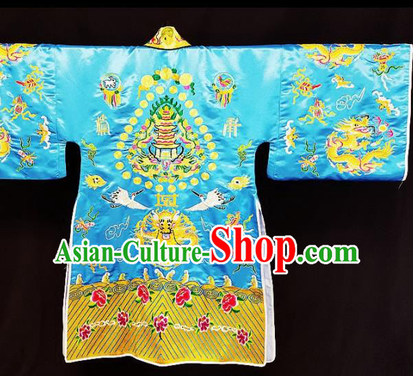 Chinese Ancient Taoist Priest Embroidered Cranes Blue Cassocks Traditional Taoism Vestment Costume