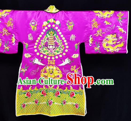 Chinese Ancient Taoist Priest Embroidered Cranes Purple Cassocks Traditional Taoism Vestment Costume