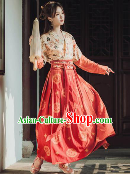 Traditional Chinese Tang Dynasty Female Civilian Hanfu Dress Ancient Young Lady Historical Costumes for Women