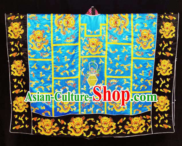 Chinese Ancient Taoist Priest Embroidered Dragon Blue Cassocks Traditional Taoism Vestment Costume
