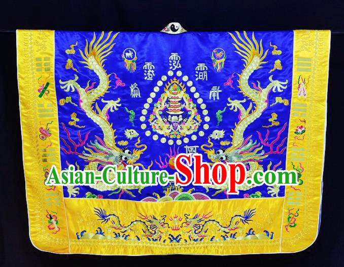 Chinese Ancient Taoist Priest Embroidered Dragons Royalblue Cassocks Traditional Taoism Vestment Costume