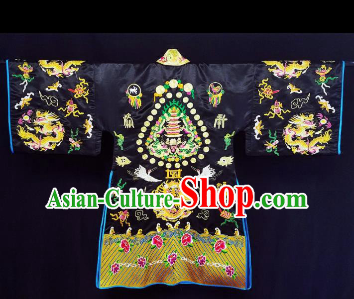Chinese Ancient Taoist Priest Embroidered Dragon Black Cassocks Traditional Taoism Vestment Costume