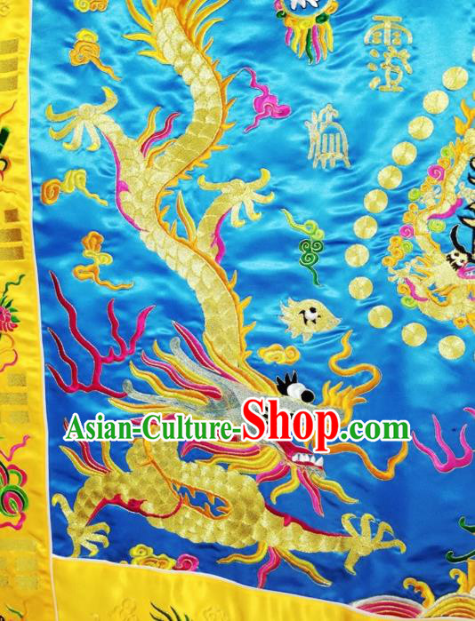 Chinese Ancient Taoist Priest Embroidered Dragons Blue Cassocks Traditional Taoism Vestment Costume