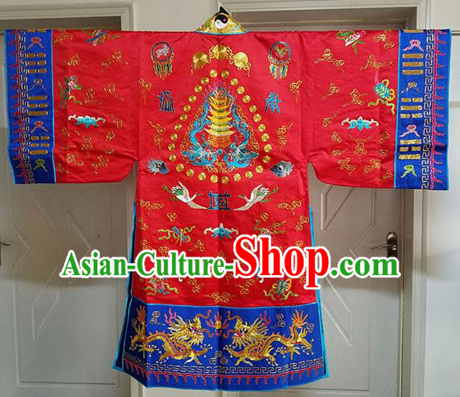 Chinese Ancient Taoist Priest Embroidered Cloud Cranes Red Cassocks Traditional Taoism Vestment Costume