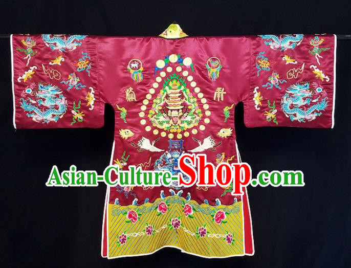Chinese Ancient Taoist Priest Embroidered Dragon Crane Purplish Red Cassocks Traditional Taoism Vestment Costume