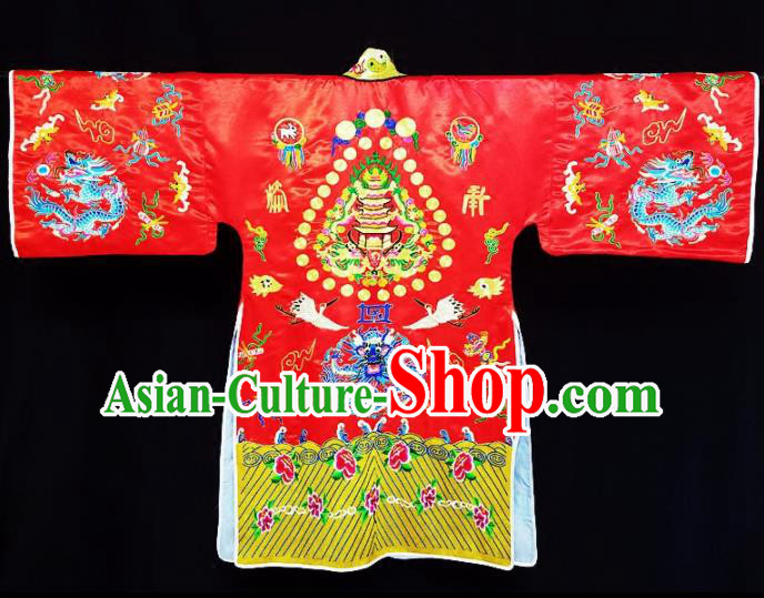 Chinese Ancient Taoist Priest Embroidered Dragon Crane Red Cassocks Traditional Taoism Vestment Costume