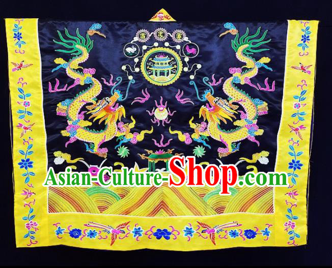 Chinese Ancient Taoist Priest Embroidered Dragon Navy Cassocks Traditional Taoism Vestment Costume